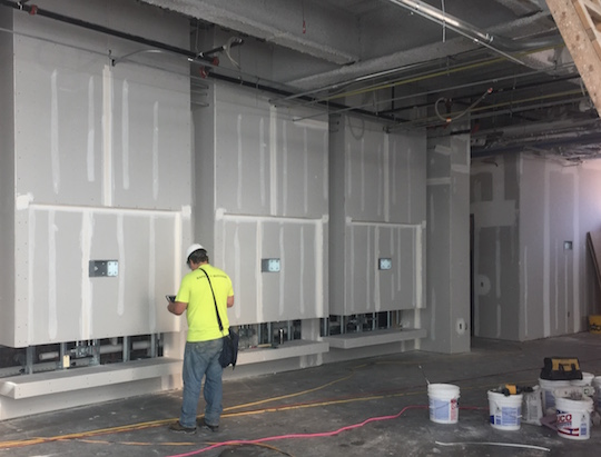 Sheetrock walls are in place on level 2, framing the locations where three gaming stations will be installed in the recreation lounge.