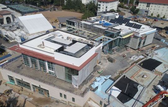 Aerial view of construction, looking north.